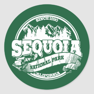 Sequoia Old Circle Green Classic Round Sticker