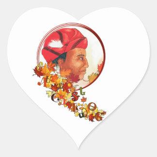 "Sequoyah & the Cherokee Syllabary ""Talking Leaves"" Heart Sticker"