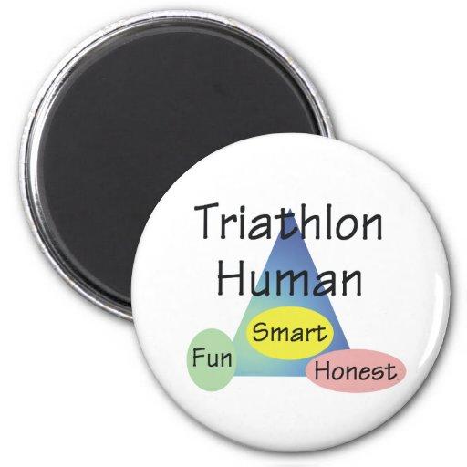 Ser humano del Triathlon de la CAMISETA Imán Redondo 5 Cm