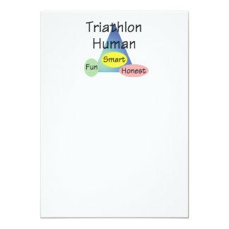 """Ser humano del Triathlon de la CAMISETA Invitación 5"""" X 7"""""""
