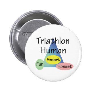 Ser humano del Triathlon de la CAMISETA Pin Redondo 5 Cm