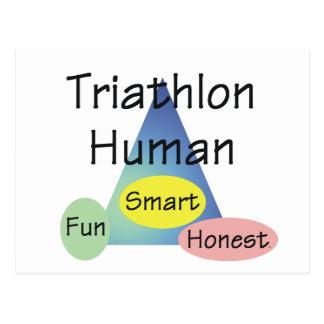 Ser humano del Triathlon de la CAMISETA Tarjeta Postal