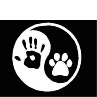 Ser humano/perro Ying Yang Fotoescultura Vertical