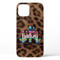 Serape Cactus Leopard Print Western Cowgirl Boho iPhone 12 Pro Case