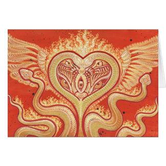 Seraphim corazón con alas y serpientes llameantes felicitacion