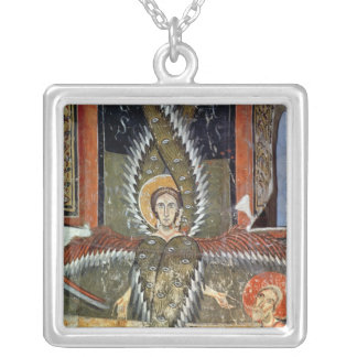 Seraphim purifying the lips of Isaiah Square Pendant Necklace