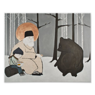Seraphim, St. Seraphim, and the Bear Poster