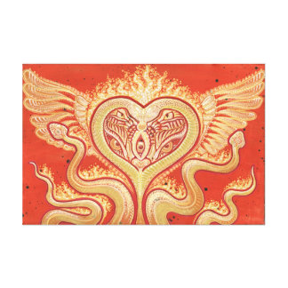 Seraphim (Winged Heart & Flaming Snakes) Canvas Print
