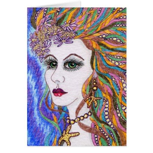 Seraphina, diosa del retrato de la sirena tarjeta de felicitación