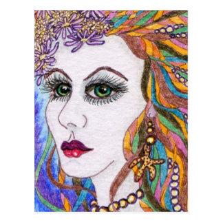 Seraphina, diosa del retrato de la sirena tarjetas postales