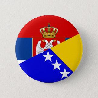 serbia bosnia Herzegovina flag country half symbol Pinback Button