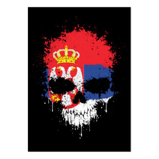 Serbia Dripping Splatter Skull Large Business Cards (Pack Of 100)