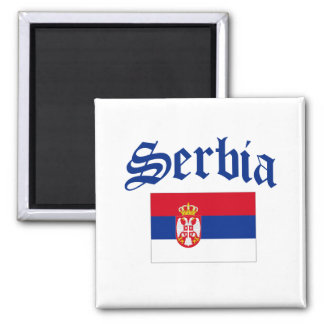 Serbia Flag 2 Inch Square Magnet