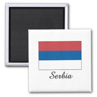 Serbia Flag Design 2 Inch Square Magnet