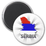 Serbia Flag Map 2.0 2 Inch Round Magnet