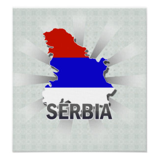 Serbia Flag Map 2.0 Print