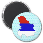 Serbia Flag Map full size 2 Inch Round Magnet
