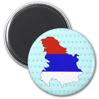 Serbia Flag Map full size Magnet