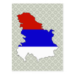 Serbia Flag Map full size Postcard