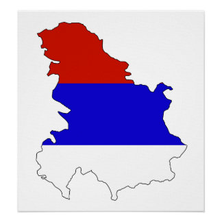 Serbia Flag Map full size Poster