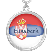 Serbia Flag   Name Necklace