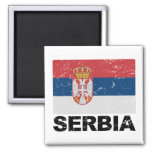 Serbia Flag Vintage 2 Inch Square Magnet