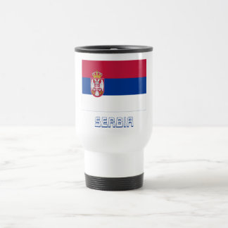Serbia Flag with Name 15 Oz Stainless Steel Travel Mug