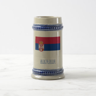 Serbia Flag with Name 18 Oz Beer Stein