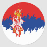 Serbia Gnarly Flag Classic Round Sticker