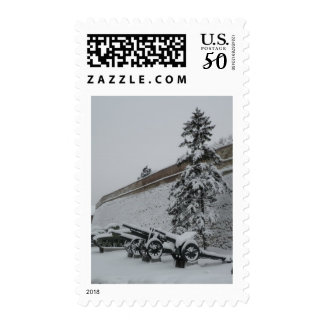 Serbia in the snow postage