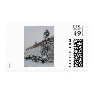 Serbia in the snow postage stamp