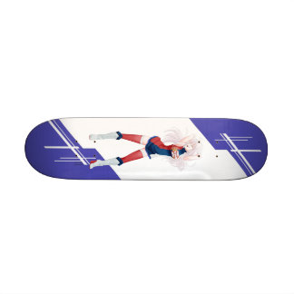 Serbia Manga girl dressed in Flag - Serbian Skateboard