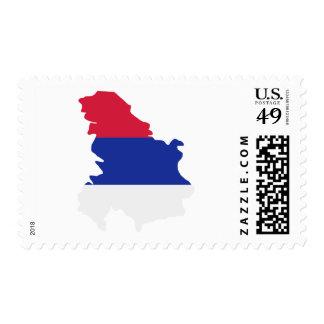 Serbia map flag stamp
