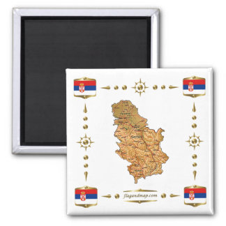 Serbia Map + Flags Magnet
