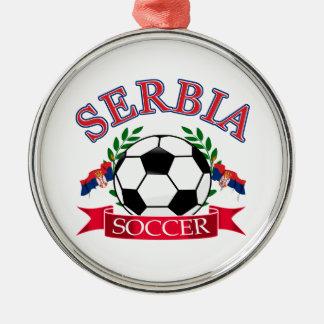 Serbia soccer ball designs round metal christmas ornament