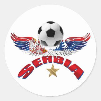 Serbia soccer ball wings of power Srbija design Classic Round Sticker