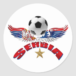 serbia soccer classic round sticker