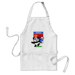 Apron with Serbia Football Panda design