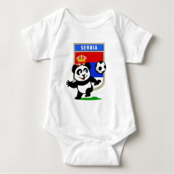 Baby Jersey Bodysuit with Serbia Football Panda design