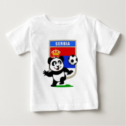 Baby Fine Jersey T-Shirt with Serbia Football Panda design