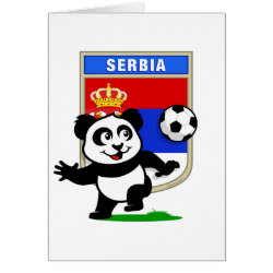 Greeting Card with Serbia Football Panda design