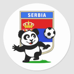 Round Sticker with Serbia Football Panda design