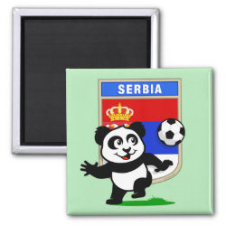 Square Magnet with Serbia Football Panda design