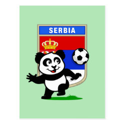Postcard with Serbia Football Panda design