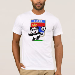 Men's Basic American Apparel T-Shirt with Serbia Football Panda design