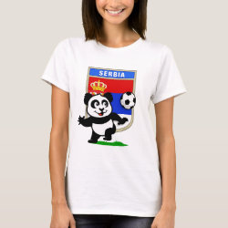 Women's Basic T-Shirt with Serbia Football Panda design