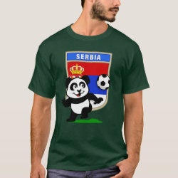 Men's Basic Dark T-Shirt with Serbia Football Panda design