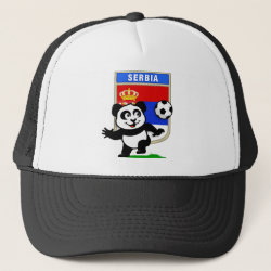 Serbia Football Panda Trucker Hat