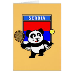 Greeting Card with Serbia Tennis Panda design