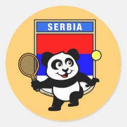 Round Sticker with Serbia Tennis Panda design